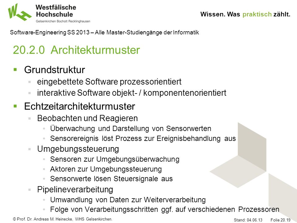 20.2.0 Architekturmuster Grundstruktur Echtzeitarchitekturmuster