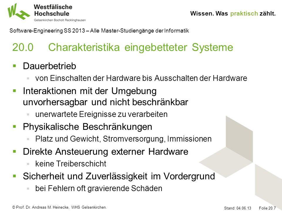 20.0 Charakteristika eingebetteter Systeme