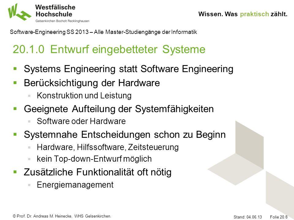 20.1.0 Entwurf eingebetteter Systeme