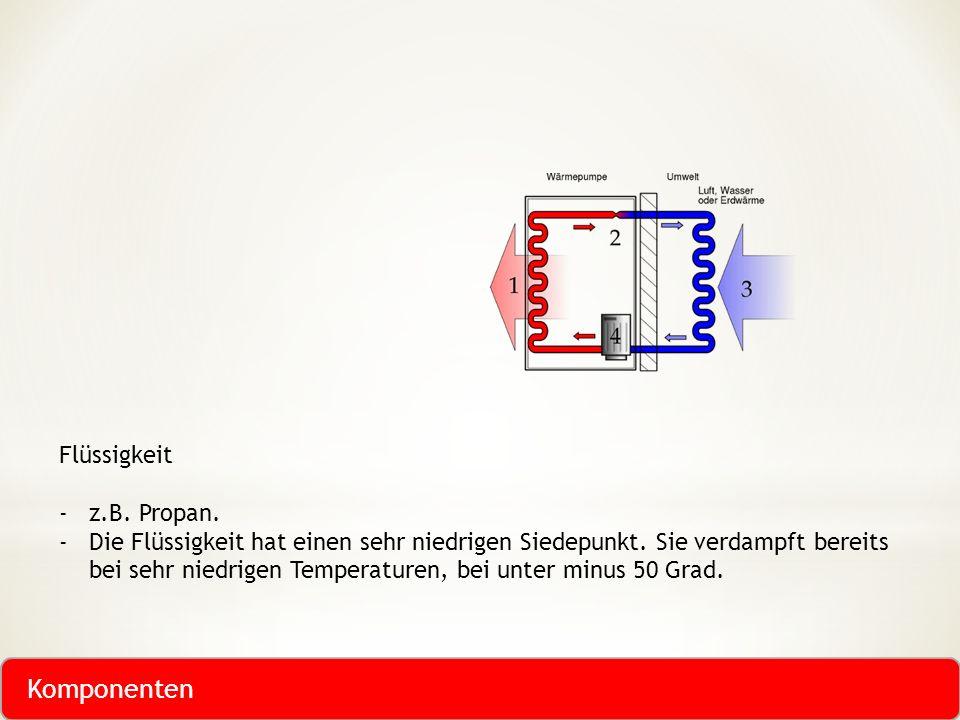 Komponenten Flüssigkeit z.B. Propan.