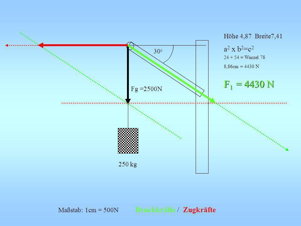 F1 = 4430 N a2 x b2=c2 24 + 54 = Wurzel 78 8,86cm = 4430 N
