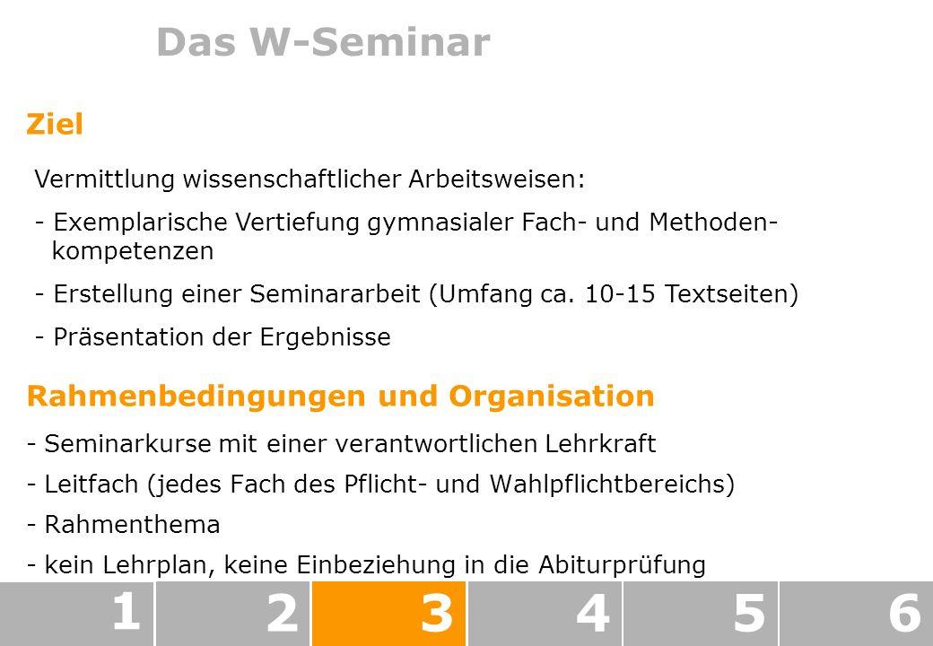 1 2 3 4 5 6 Das W-Seminar Ziel Rahmenbedingungen und Organisation