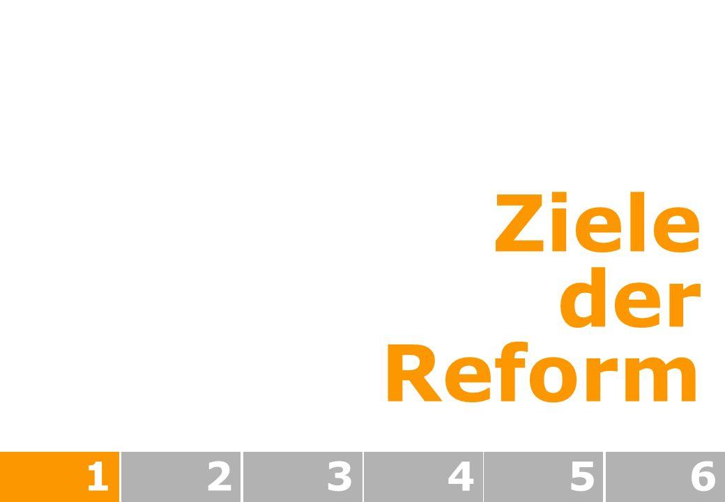 Ziele der Reform 1 2 3 4 5 6