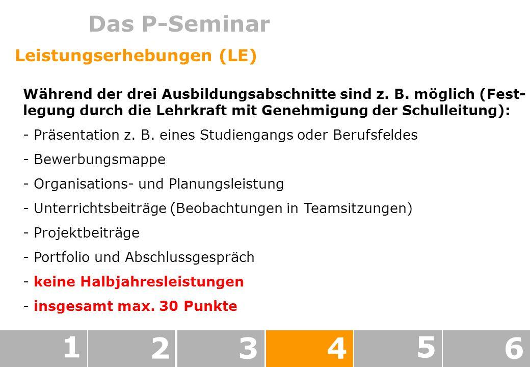 1 2 3 4 5 6 Das P-Seminar Leistungserhebungen (LE)