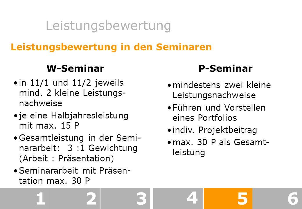 1 2 3 4 5 6 Leistungsbewertung Leistungsbewertung in den Seminaren
