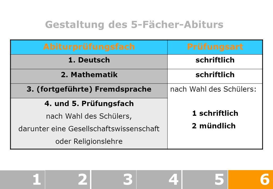 Gestaltung des 5-Fächer-Abiturs