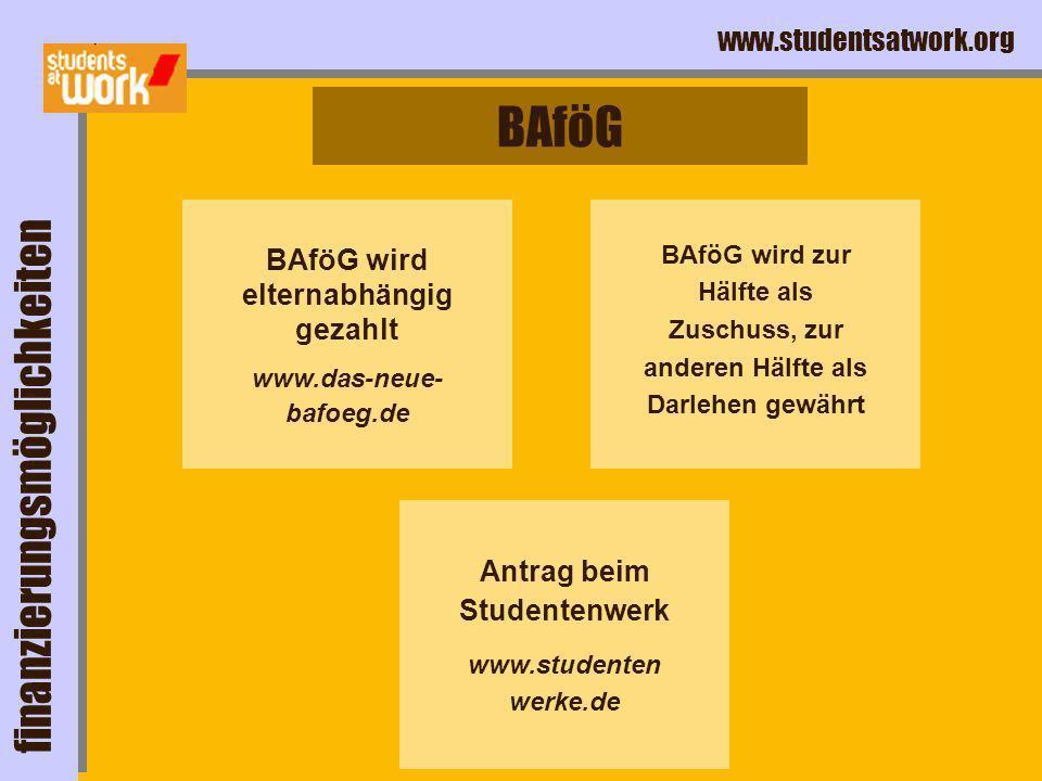 BAföG wird elternabhängig gezahlt Antrag beim Studentenwerk