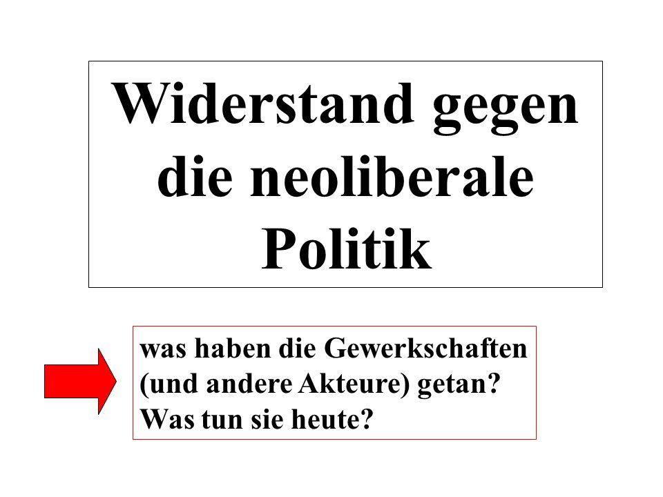 Widerstand gegen die neoliberale Politik