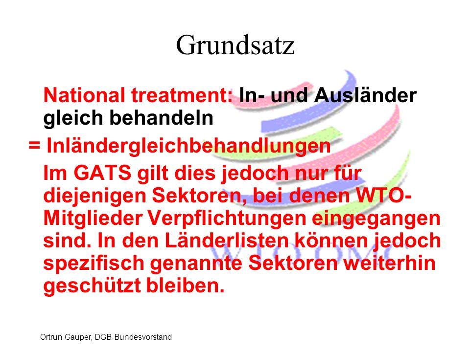 Grundsatz National treatment: In- und Ausländer gleich behandeln