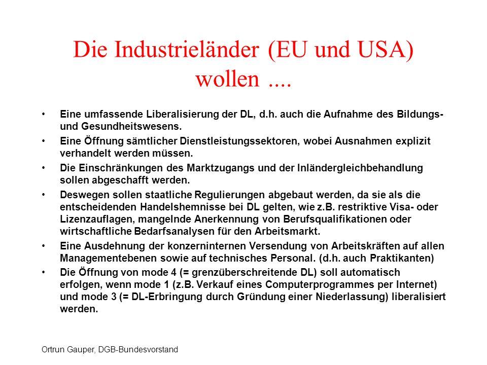Die Industrieländer (EU und USA) wollen ....