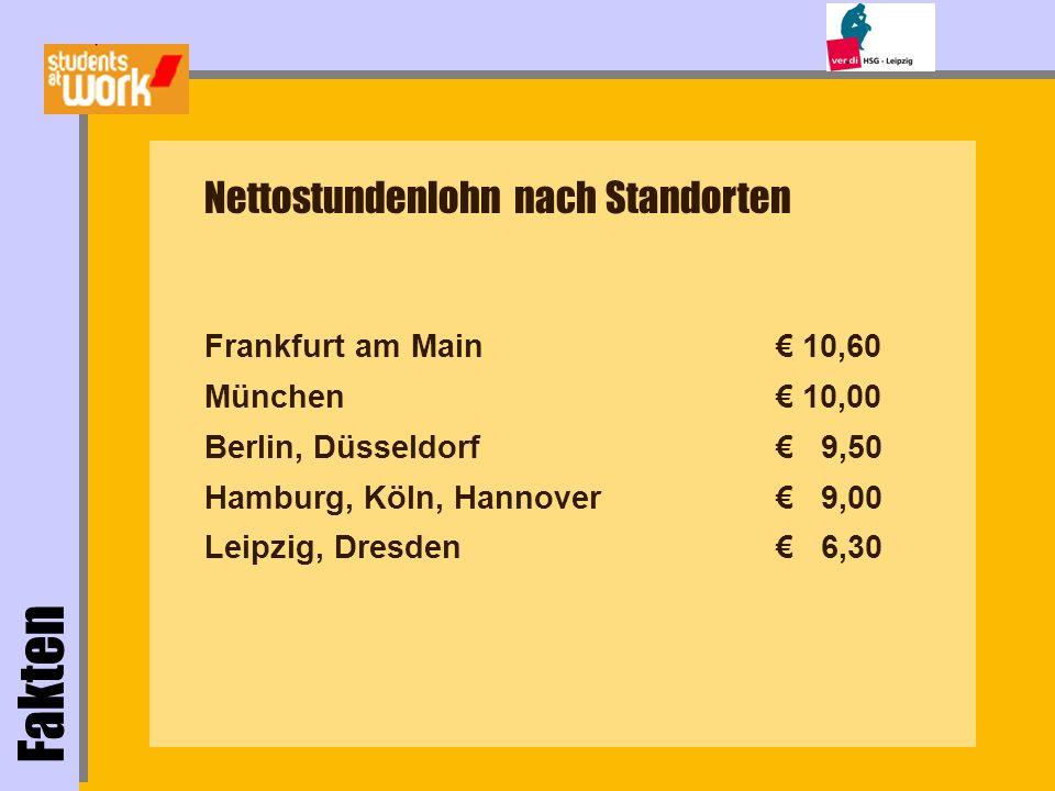 Fakten Nettostundenlohn nach Standorten Frankfurt am Main München