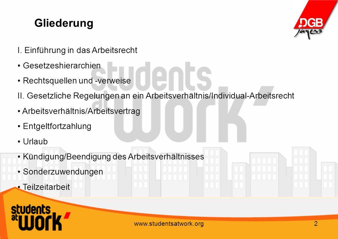 Gliederung I. Einführung in das Arbeitsrecht Gesetzeshierarchien