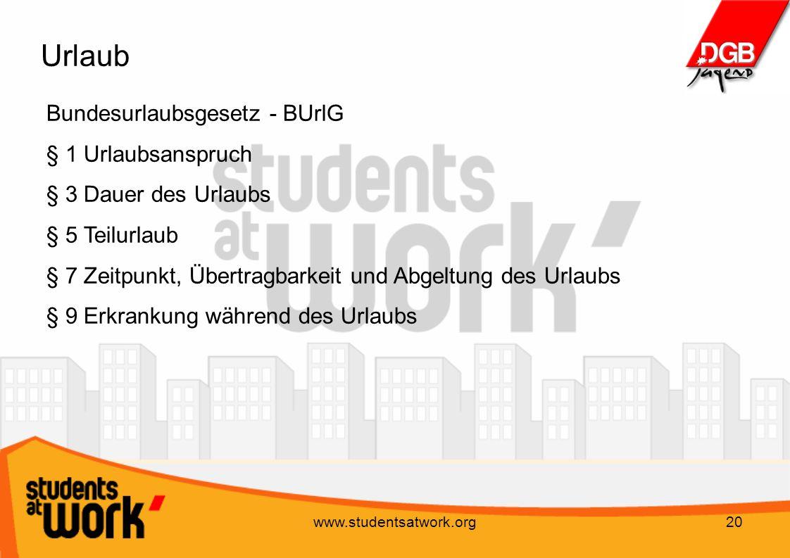 Urlaub Bundesurlaubsgesetz - BUrlG § 1 Urlaubsanspruch