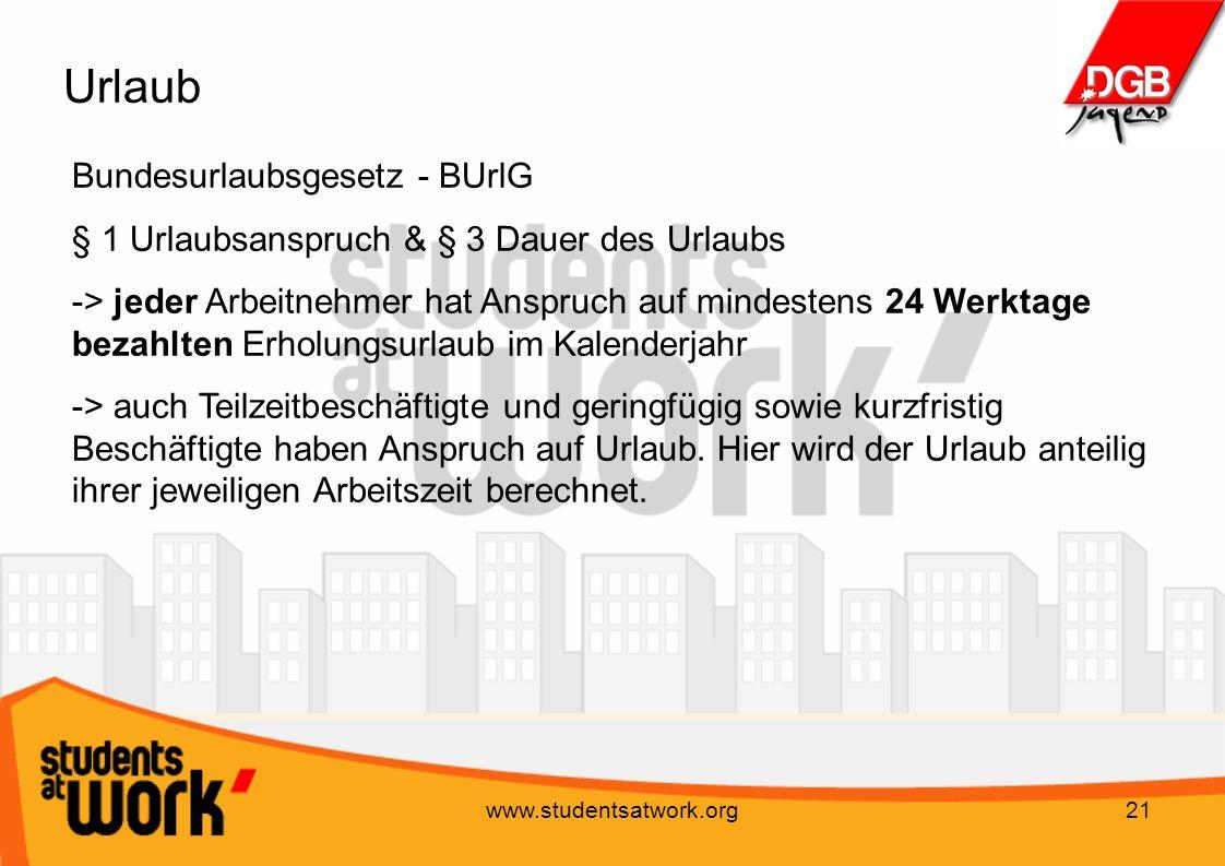 Urlaub Bundesurlaubsgesetz - BUrlG