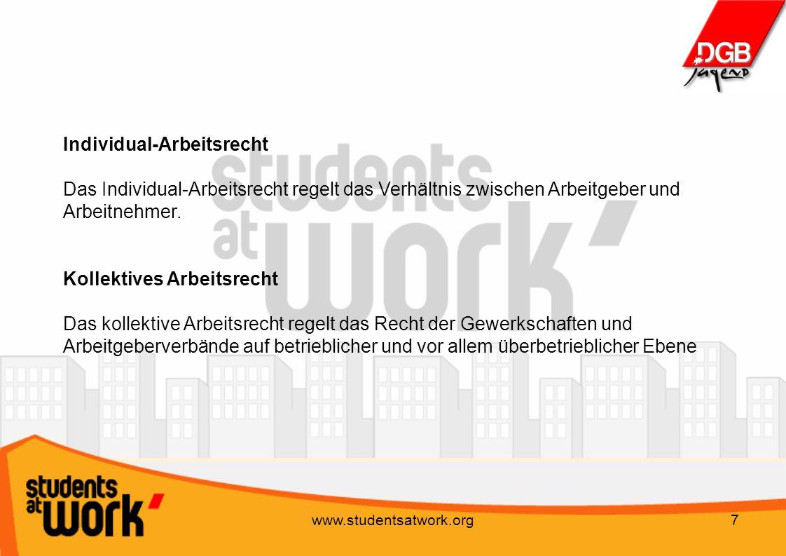 Individual-Arbeitsrecht Das Individual-Arbeitsrecht regelt das Verhältnis zwischen Arbeitgeber und Arbeitnehmer.