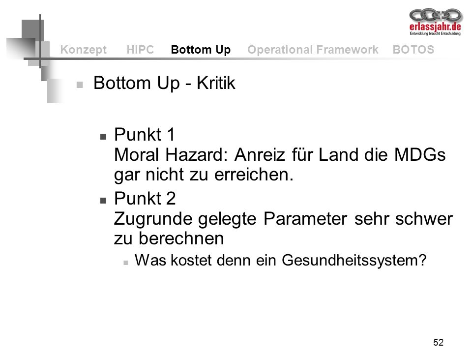 Konzept HIPC Bottom Up Operational Framework BOTOS
