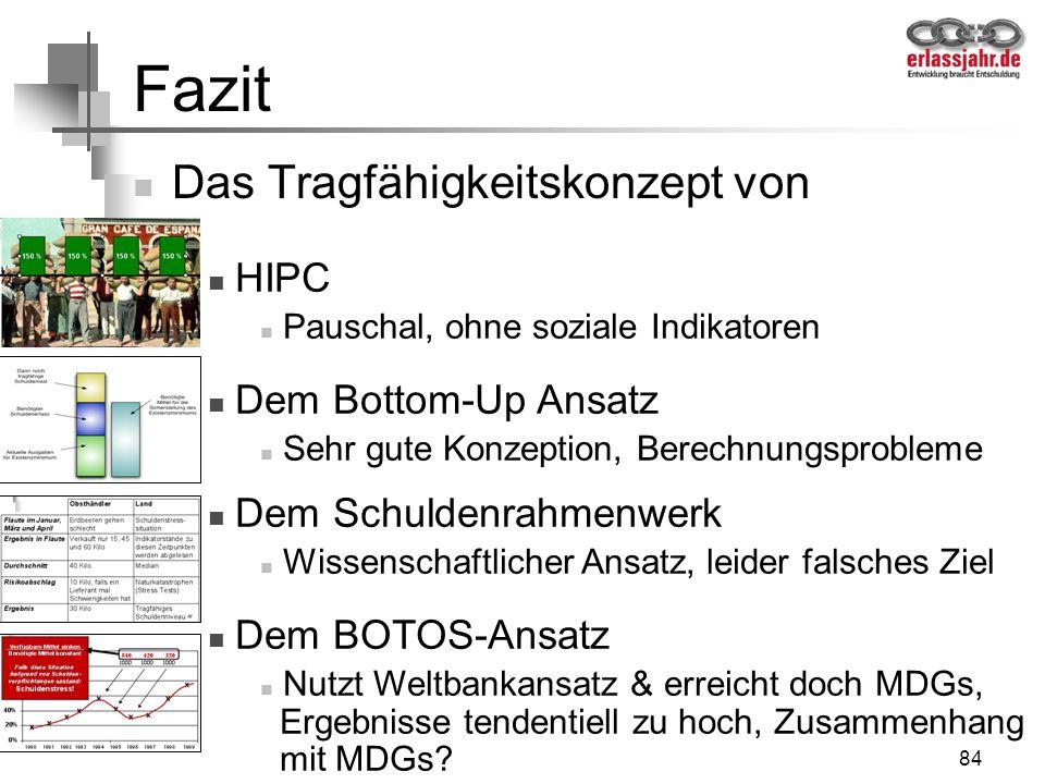Fazit Das Tragfähigkeitskonzept von HIPC Dem Bottom-Up Ansatz
