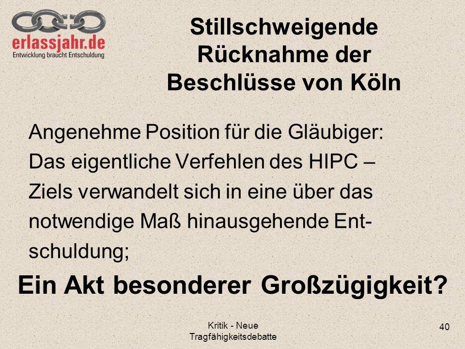 Stillschweigende Rücknahme der Beschlüsse von Köln