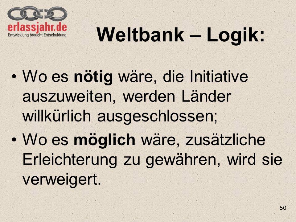 Weltbank – Logik: Wo es nötig wäre, die Initiative auszuweiten, werden Länder willkürlich ausgeschlossen;