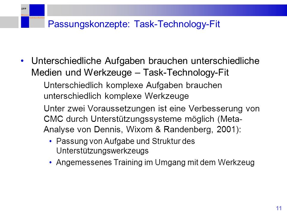 Passungskonzepte: Task-Technology-Fit