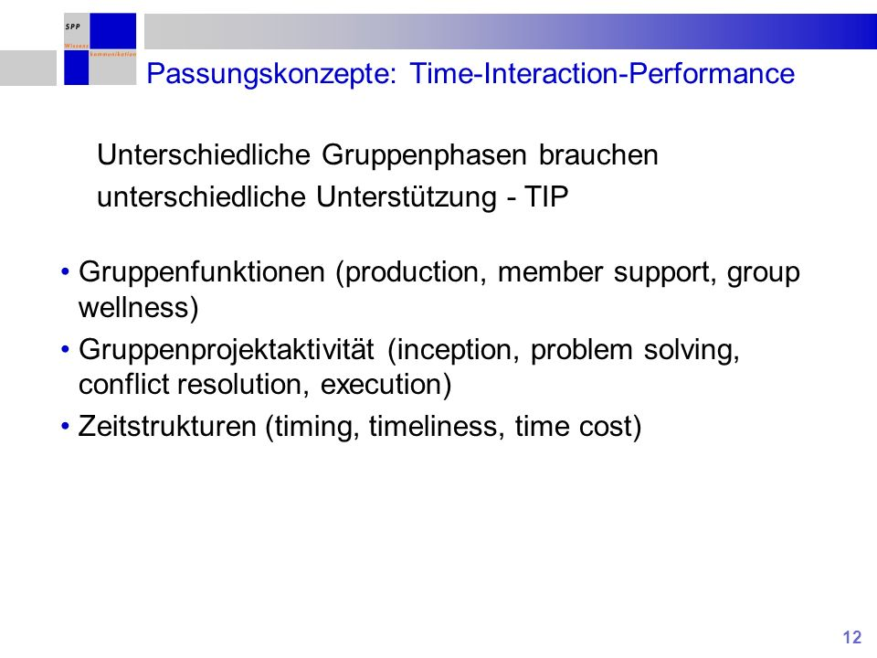 Passungskonzepte: Time-Interaction-Performance
