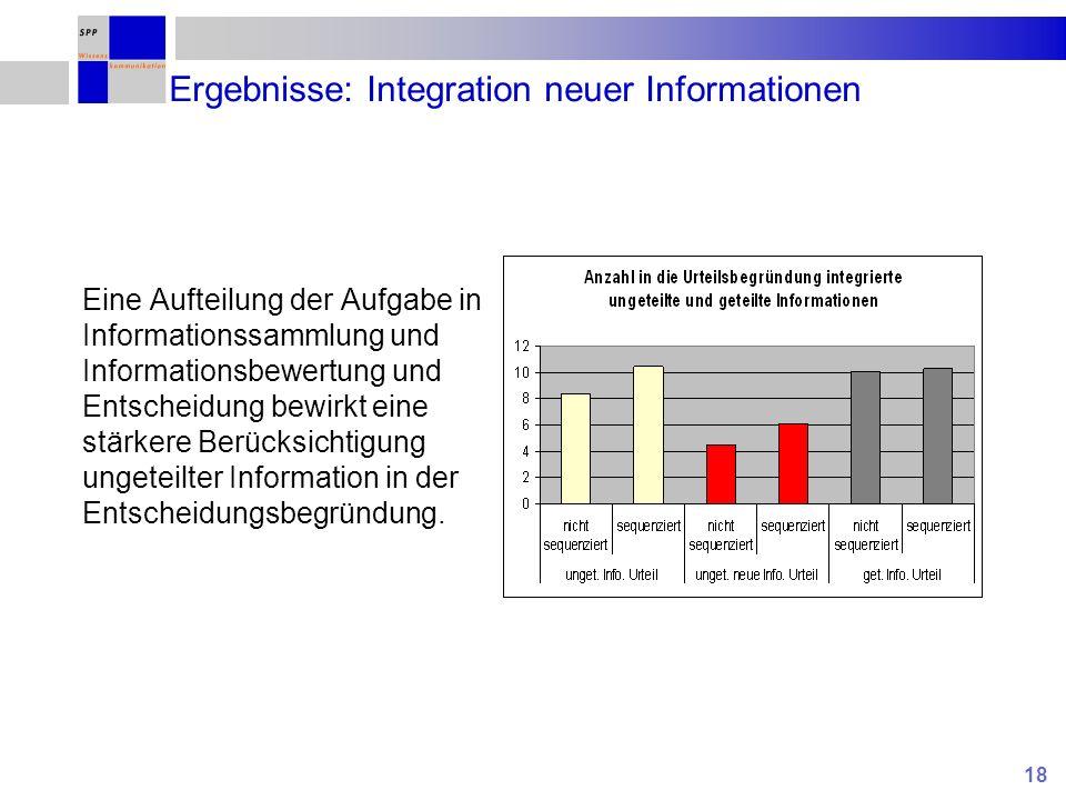 Ergebnisse: Integration neuer Informationen