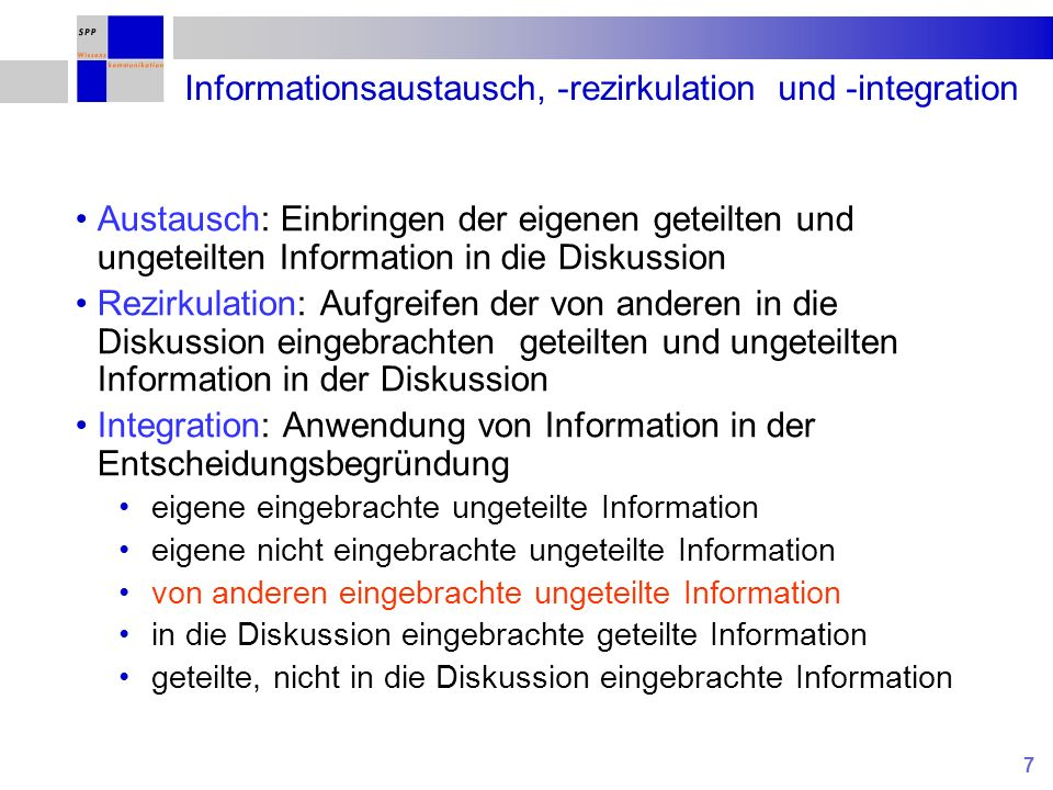Informationsaustausch, -rezirkulation und -integration
