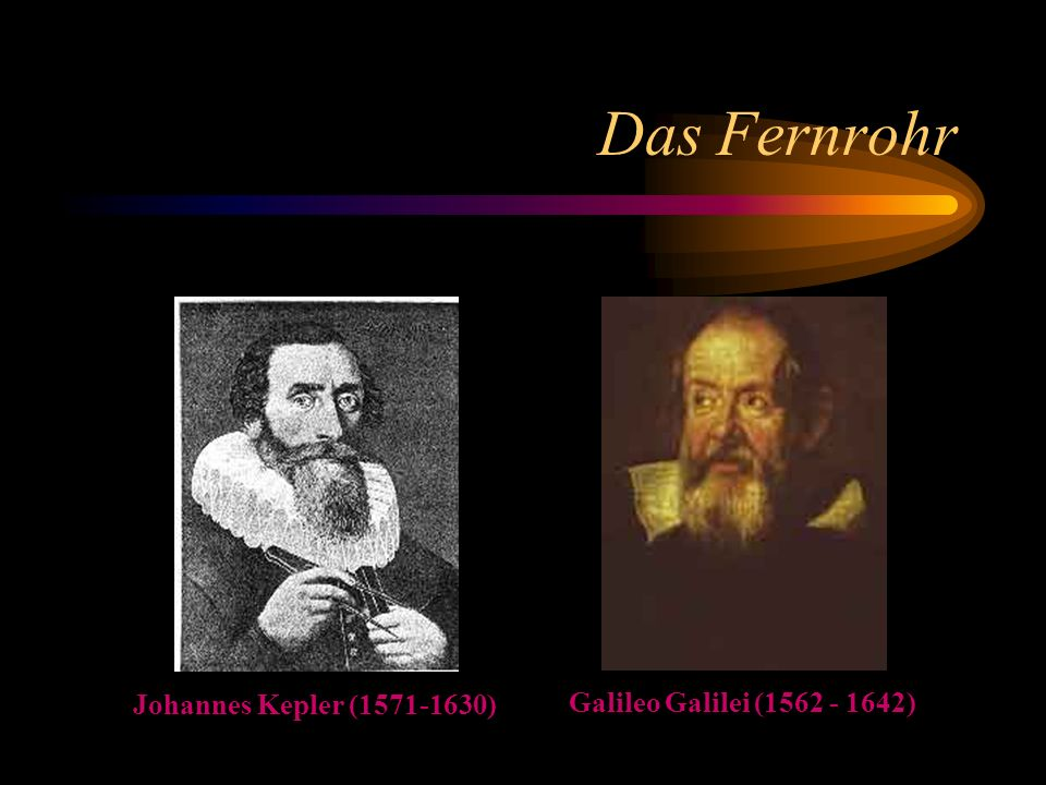 Das Fernrohr Johannes Kepler (1571-1630) Galileo Galilei (1562 - 1642)