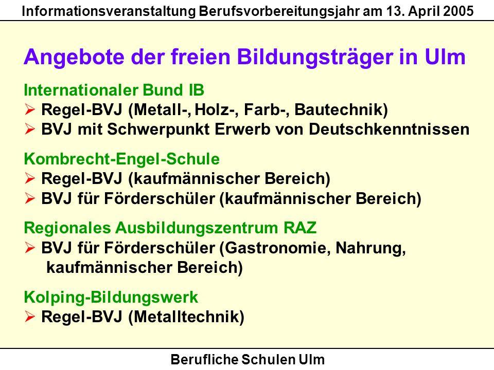 Angebote der freien Bildungsträger in Ulm