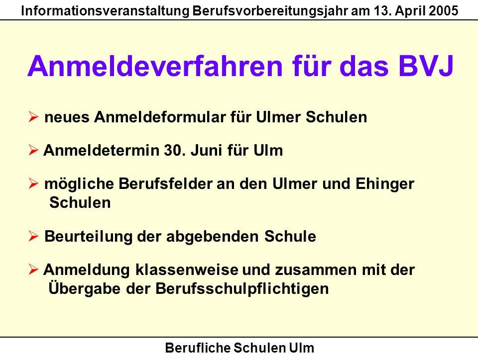 Anmeldeverfahren für das BVJ