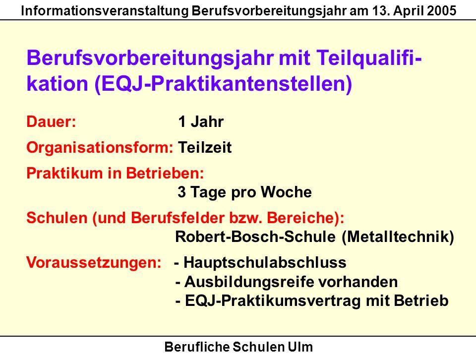 Berufsvorbereitungsjahr mit Teilqualifi- kation (EQJ-Praktikantenstellen)