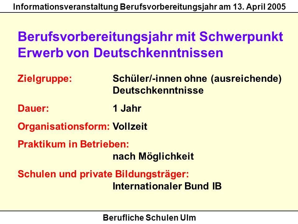 Berufsvorbereitungsjahr mit Schwerpunkt Erwerb von Deutschkenntnissen
