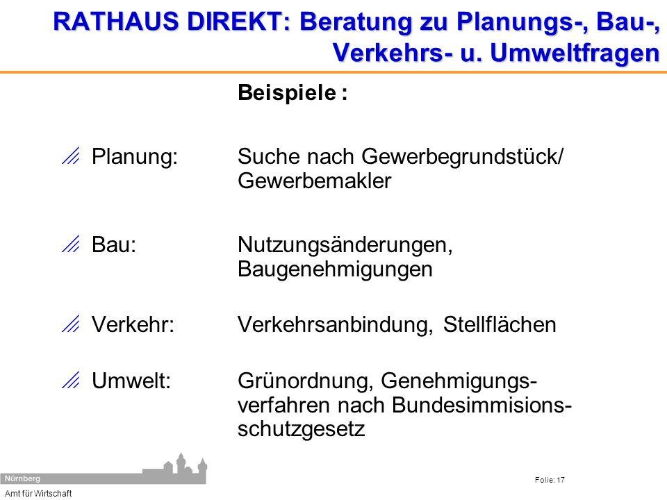 RATHAUS DIREKT: Beratung zu Planungs-, Bau-, Verkehrs- u. Umweltfragen