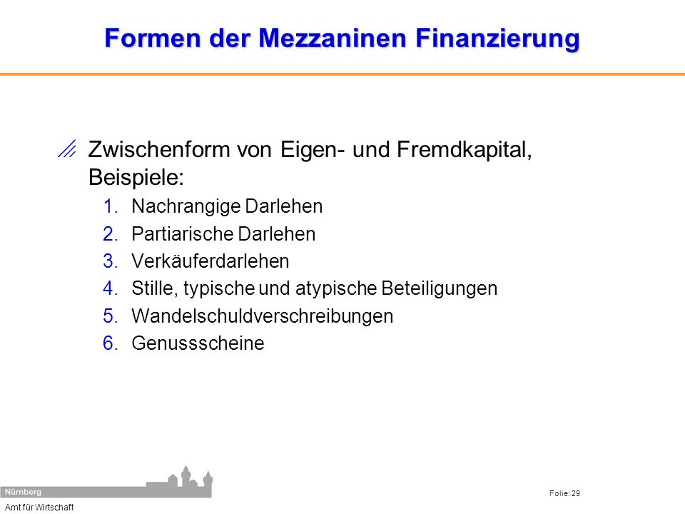 Formen der Mezzaninen Finanzierung