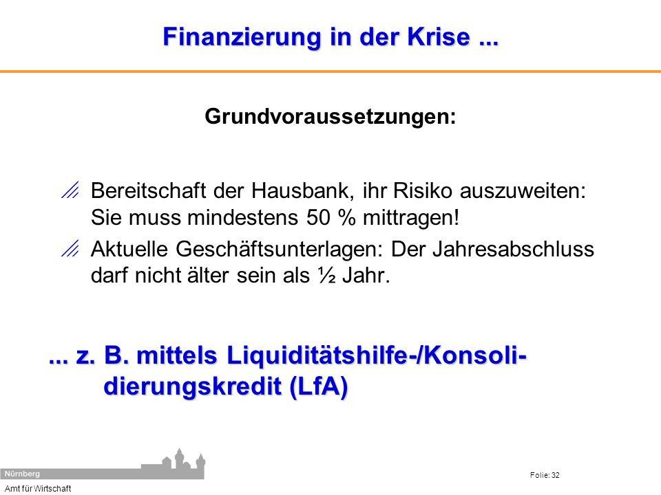 Finanzierung in der Krise ...