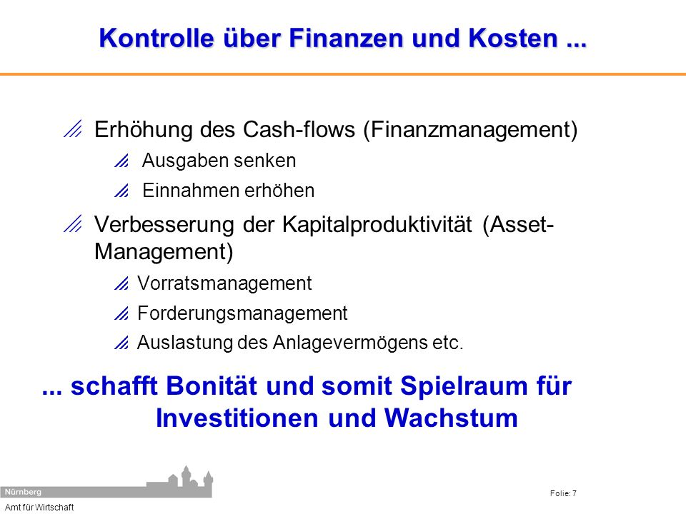 Kontrolle über Finanzen und Kosten ...