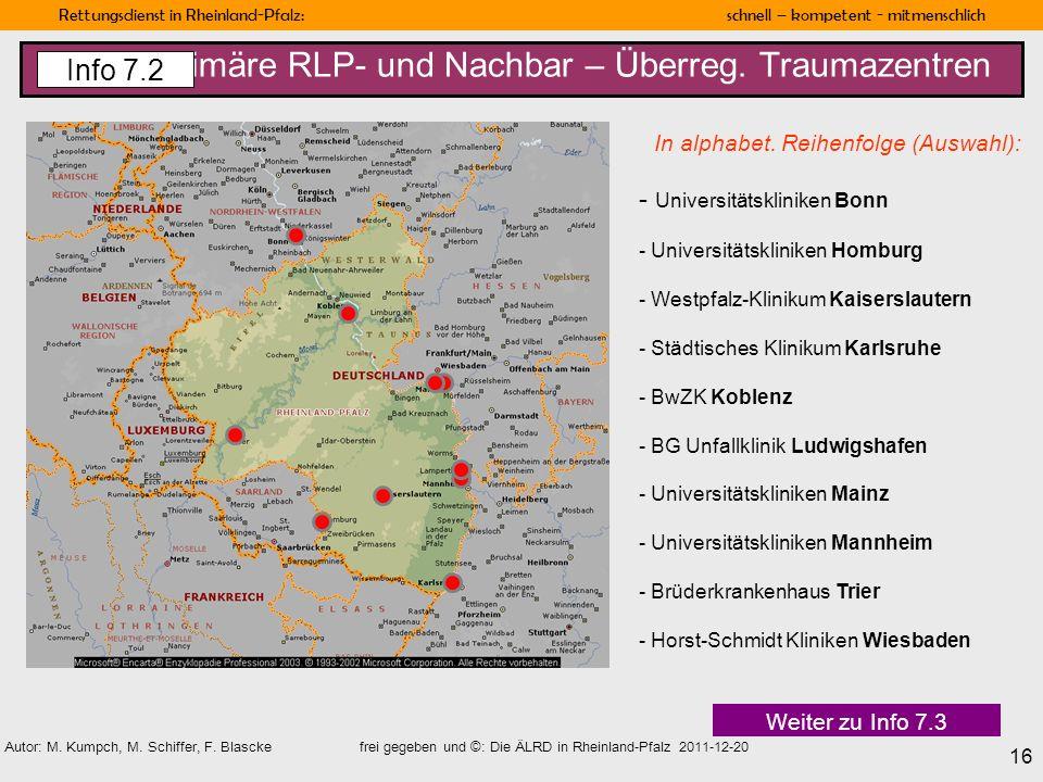 Primäre RLP- und Nachbar – Überreg. Traumazentren