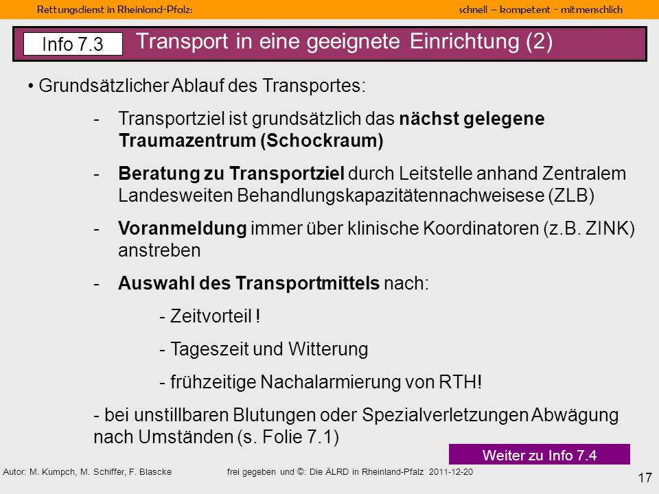 Transport in eine geeignete Einrichtung (2)