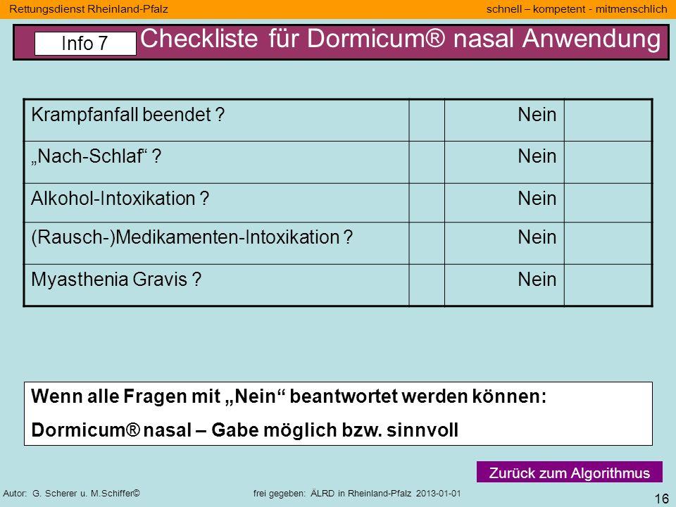 Checkliste für Dormicum® nasal Anwendung