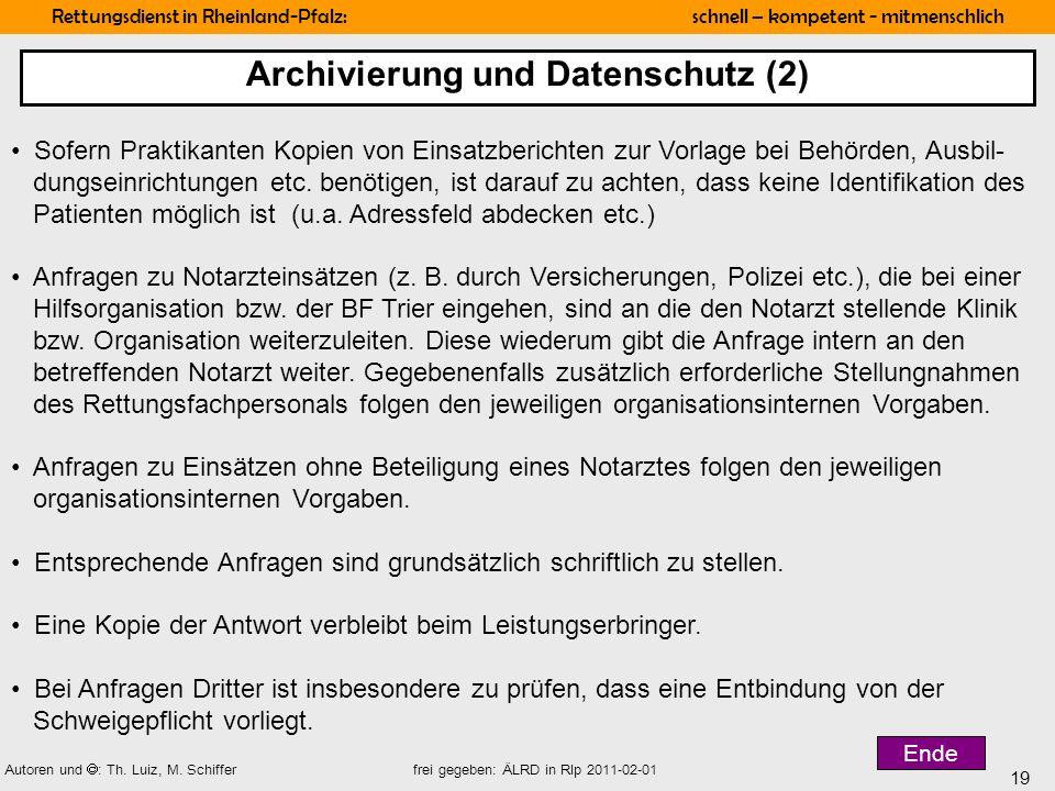 Archivierung und Datenschutz (2)