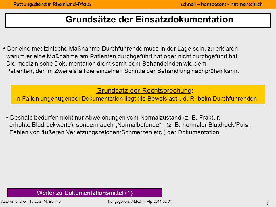 Grundsätze der Einsatzdokumentation