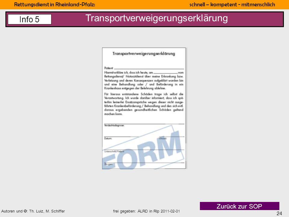 Transportverweigerungserklärung