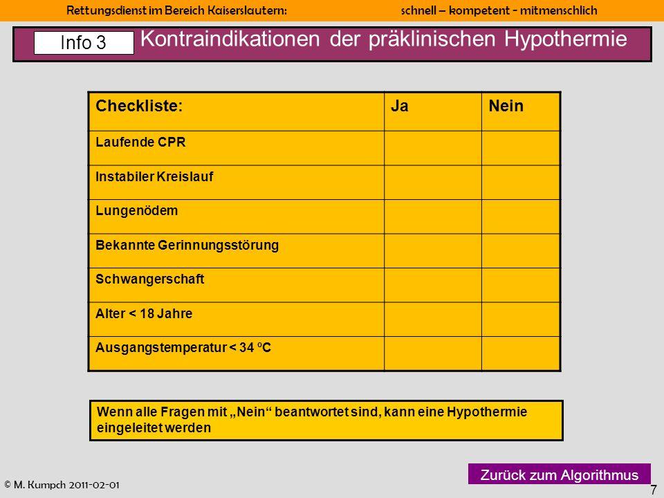 Kontraindikationen der präklinischen Hypothermie