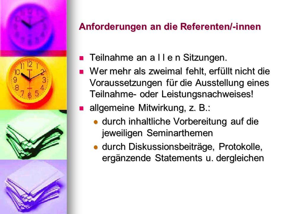 Anforderungen an die Referenten/-innen