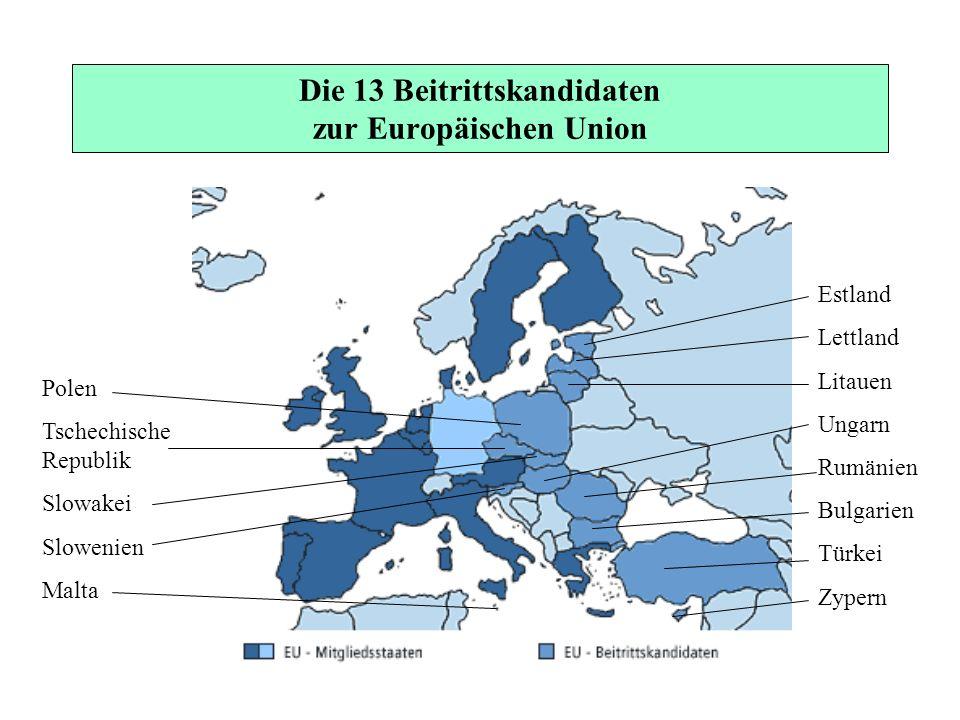 Die 13 Beitrittskandidaten zur Europäischen Union