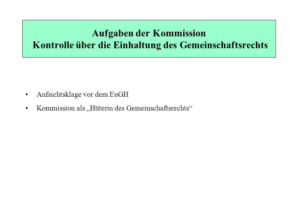 Aufgaben der Kommission Kontrolle über die Einhaltung des Gemeinschaftsrechts