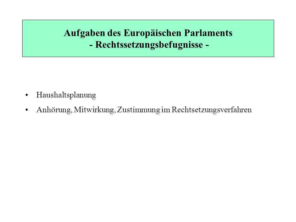 Aufgaben des Europäischen Parlaments - Rechtssetzungsbefugnisse -