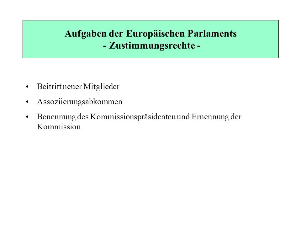 Aufgaben der Europäischen Parlaments - Zustimmungsrechte -