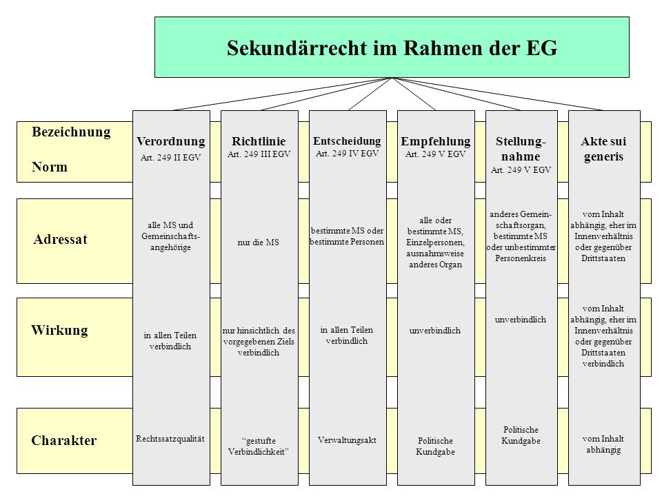 Sekundärrecht im Rahmen der EG