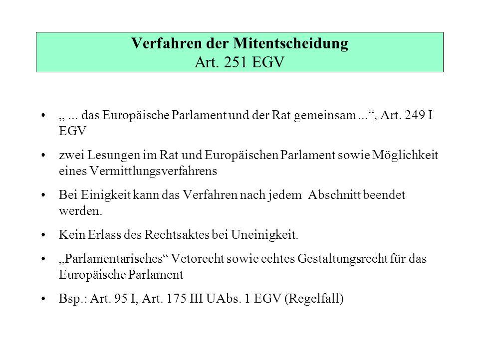 Verfahren der Mitentscheidung Art. 251 EGV